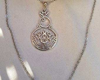 steel lotus flower necklace