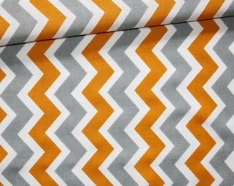 Chevron, 100% cotton fabric printed 50 x 160 cm, zig zag, orange, gray and white chevron pattern