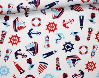 Tissu marin, 100% coton imprimé 50 x 160 cm, motif marin sur fond blanc