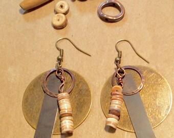 Brass ,Bronze, Coconut Shell Earrings, Drops, Dangles, Boho,