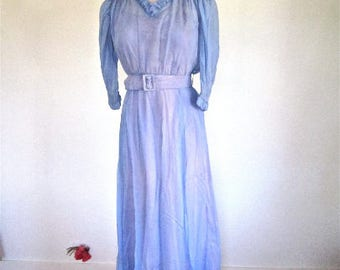 M 30s Gown Sheer Lilac Purple Periwinkle Blue Ruching Puff Sleeves Long Evening Formal Dress Belt Petite Medium