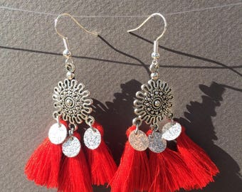 Silver tassel earrings red and sequins