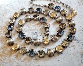Swarovski Crystal Choker Tennis Necklace Denim Blue Gray Golden Pearl Antique Silver Bridal Wedding
