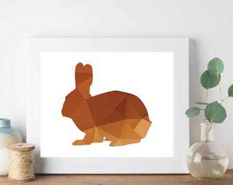 Brown Geometric Bunny Print, Geometric Animal Print, Nursery Room Art, Bohemian Print, Hipster Print, Teen Room Decor, Brown Geometric Print