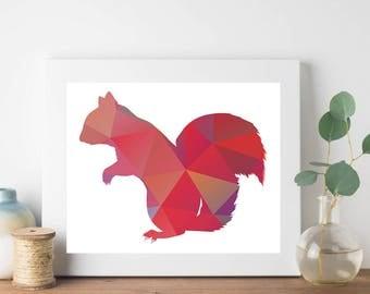 Pink Squirrel Geometric Print, Squirrel Print, Pink Nursery Print, Minimalist Print, Abstract Geometric Print, Geometric Animal Print