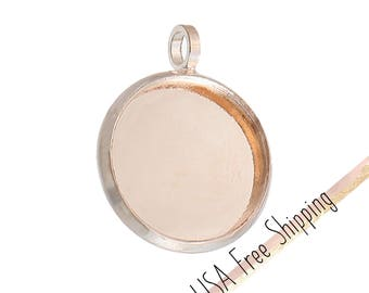 5pc Rose Gold Cabochon Settings (Fits 12mm Dia.)