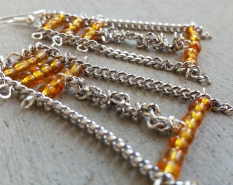 Amber Colored Seed Bead and Chain Dangle Earrings Statement earrings Beaded long earrings