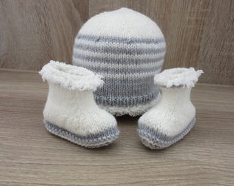 All hand made hat and booties newborn baby