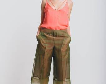 Olive-Salmon Long Shorts
