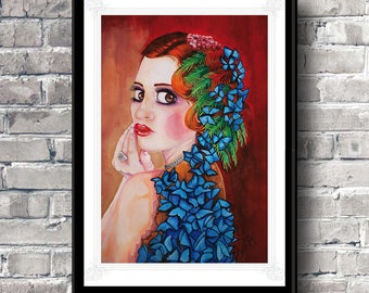 Pop surrealism fine Art Print Original print Mothers day gift Birthday Home decor Female portrait Fine Art by Florence Bretécher