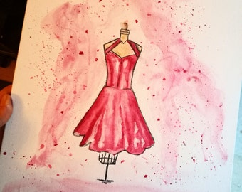 Fashion Red Dress Canvas Painting