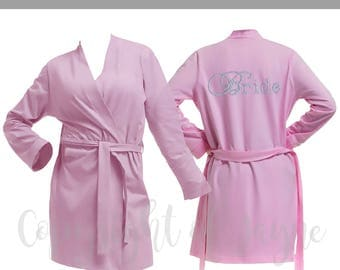 Personalised Pink Cotton Bridal Party Robe, Diamante Bride Dressing Gown, Bridesmaid Robe, Wedding Robes -  Bridal Dressing Gown