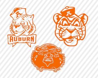 auburn tigers svg, aubie cuttable digital file, cricut file, silhouette  files, svg cutting files, sports logo monogram svg