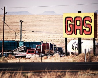 Hopi Service Station - Neon Gas Sign Photograph