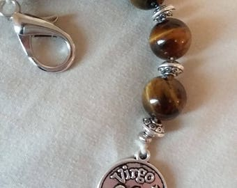 Virgo Handmade Zodiac Keychain with Tiger's Eye Beads