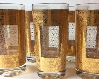 Mid Century Gold Pasinski Glasses, Set of 6 Tall Gold Pasinski Tumblers, Vintage Drinking Glasses