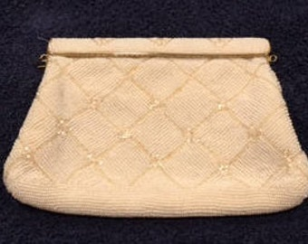 Beaded White Vintage Clutch