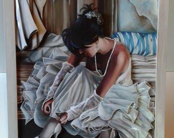 "Canvas 3d ""Woman in Wedding Dress"" framed"