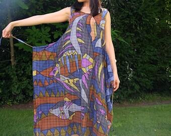Elevint Japanese Upcycled Cotton Wrap Sari Dress One Size