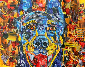 Rex - Doberman dog collage - limited edition print - Jilly Barr - 2015