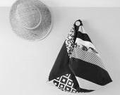 SUR-MESURE // Sac Origami patchwork / Sac japonais femme / Cabas sur-mesure noir, or et corail