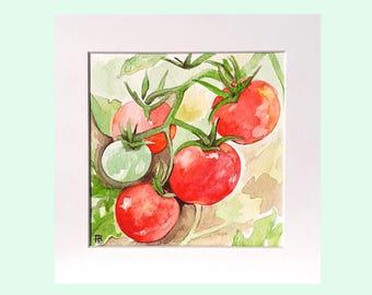 Tomato artwork, tomato watercolour, painting of tomatoes, kitchen artwork, tomatoes, tomato decor, original art, vegetable art