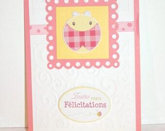 "Baby girl ""Congratulations"" greeting card - pink and yellow Ladybug"