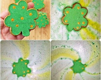 St. Patrick's Day Bath Bomb | Gold Glitter | Shamrock | Bath Art | Colorful Fizzy Mint Cucumber Strawberry Kiwi | Children Kids Clover Gift