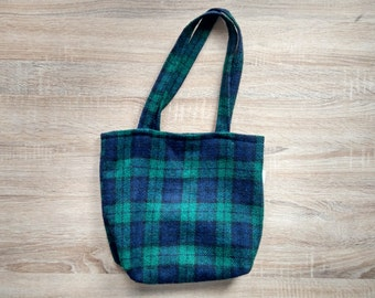 Handmade green and blue tartan wool tote bag