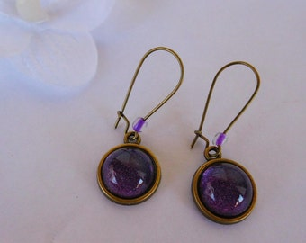 Earrings retro vintage Leverback cabochon 14 mm hand painted