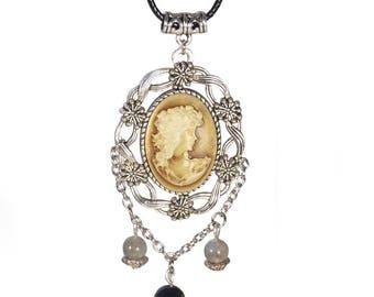 Amelia Portrait cameo pendant necklace