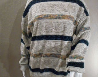 Vintage striped Sweater gray, blue, and pastels