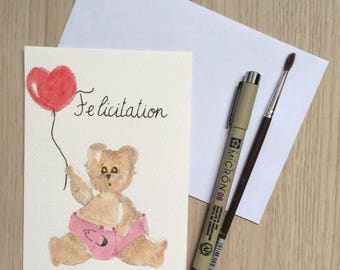 Postcard girl - Collection Gribouille & Zebulon congratulation card