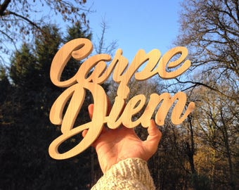 Wooden Word Carpe Diem lazure raw wooden letters