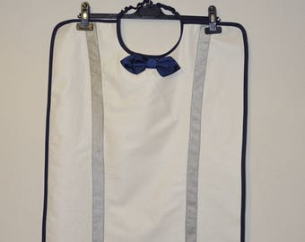 Adult bib waterproof white man, Navy Blue bowtie and Suspenders