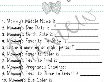 Elephant Baby Shower Game-Who knows Mommy best? Mint/Grey