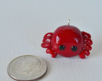 Red Crab Polymer Clay Chibi Charm, Polymer Clay, Charm, Crab