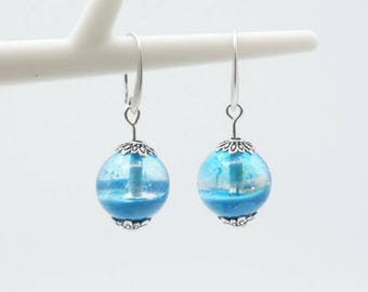 Blue and clear - A16 Lampwork Glass beads earrings