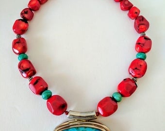Vintage Turquoise and Red Coral Necklace with Sterling Silver