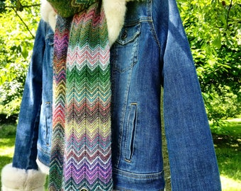 Colorful handknitted scarf