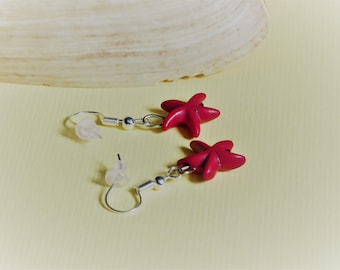 Red howlite Starfish earrings