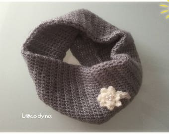 Snood Mohair acrylic, round neck gray, flower and Pearl White, soft comfortable and warm, winter cold snow, holiday gift for all Locadyna