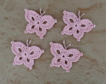 set of 4 Pink Butterflies light crochet