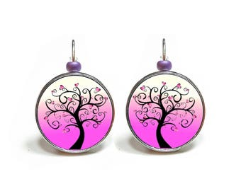 Pink tree heart earrings