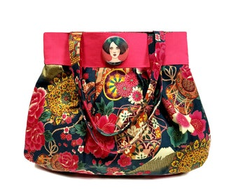 Handbag fabric Japanese flowers, fat hand bag, Japanese Cotton fabric, Cotton fabric, handmade bag