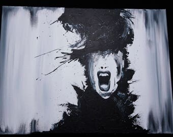 Abstract Scream Acrylic Painting on Canvas