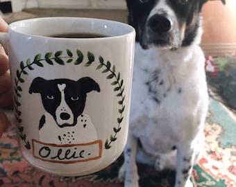 Medium Custom Dog Mug with Wreath