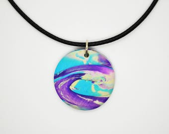 Purple and blue abstract patterned round pendant necklace