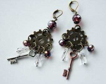 Mismatched Steampunk Earrings, Key Earrings, Steampunk Key Earrings, Gear Earrings, Steampunk Gear Earrings, Keys, Gears, Cogs, Crystals