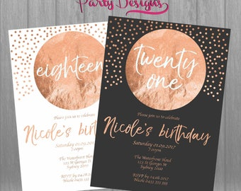Rose Gold Invitation, Rose Gold Eighteen Invitation, Rose Gold 21st Invitation, Rose Gold Birthday, Rose Gold Printables, Rose Gold Birthday